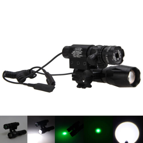 Green Dot Laser Sight rifle gun scope+Zoomalbe 6000LM T6 White LED Flashlight