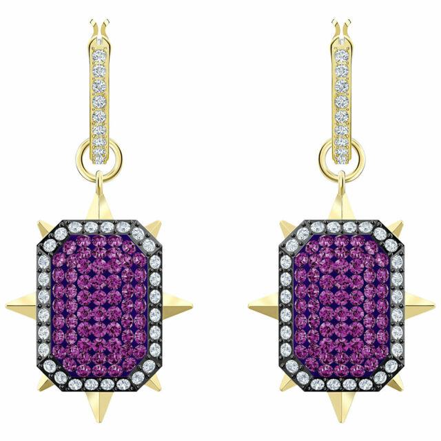 Tarot Magic Hoop Pierced Earrings Purple Gold 2019 Swarovski Jewelry 5490915