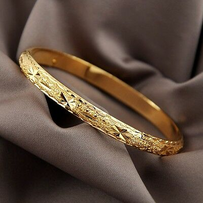 Charming Bangle 18K Yellow Gold Filled Women Bracelet 60MM Cuff GF Jewelry