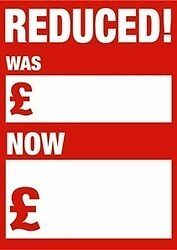 REDUCED WAS/NOW sales stickers 50 Pack