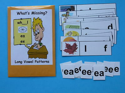 Teacher Made Literacy Center Resource Game Long Vowel Patterns ee & ea