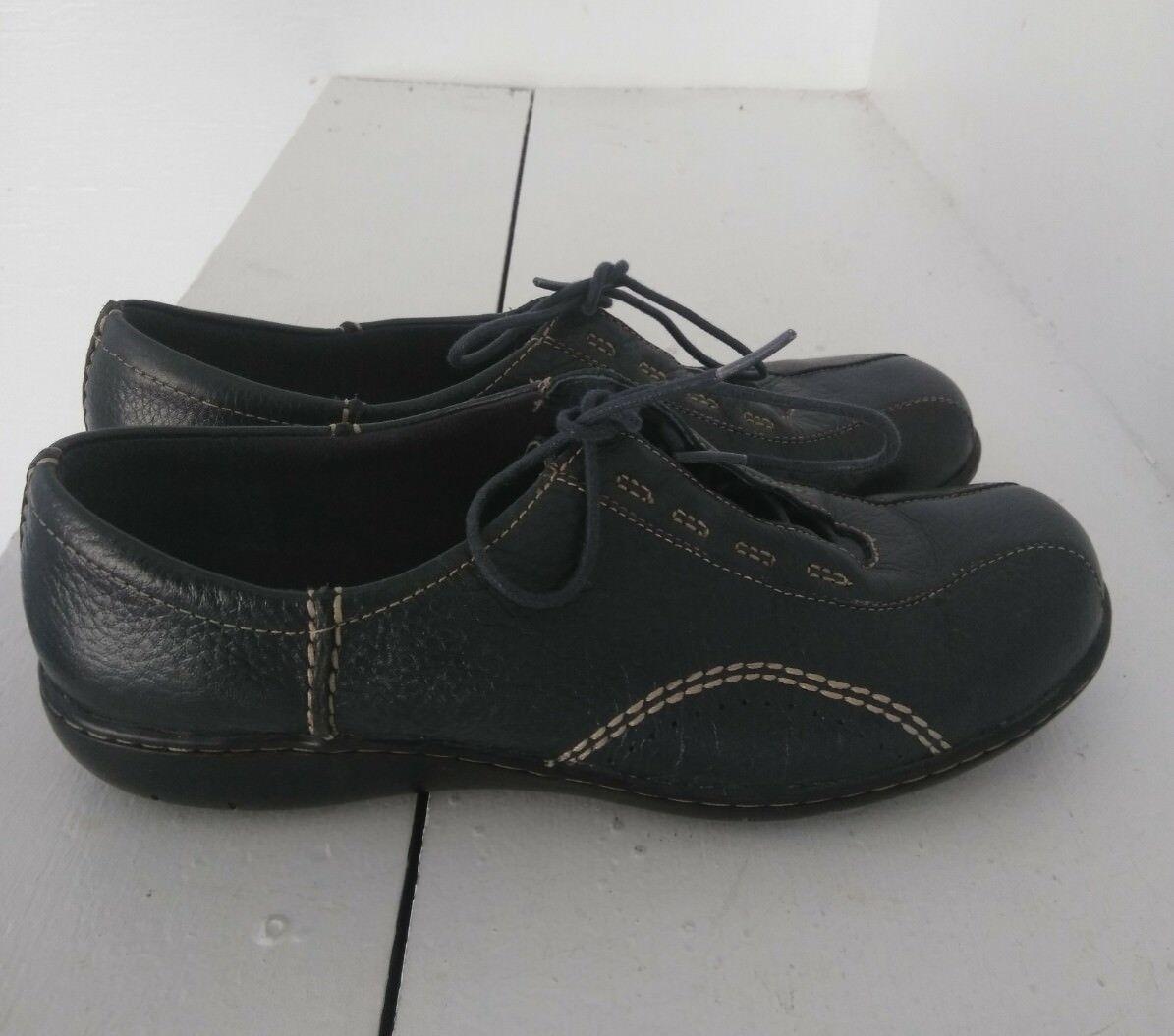 Clarks Everlay Tara Round Toe Leather Flats Slip On shoes, Navy, Sz 10M