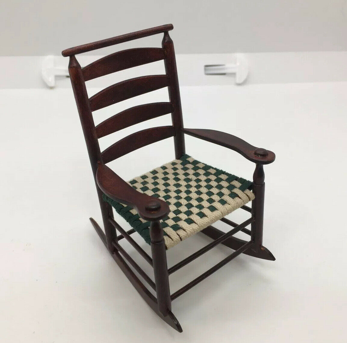 Dollhouse Furniture Shaker Rocking Chair Woven Seat Signed Gus Schwerdtfeger