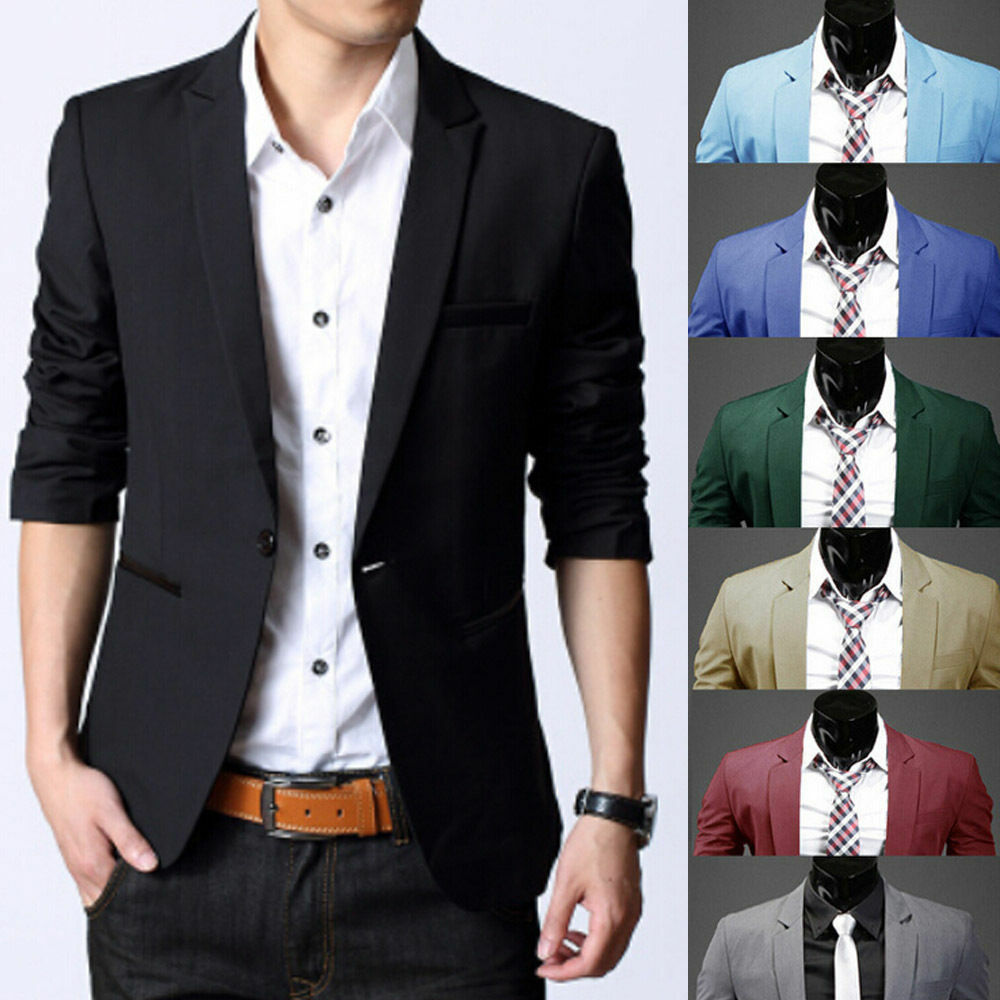 fashion mens slim fit stylish formal casual one button