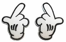 "Mickey Mouse Pair of Hands 2 1/2"" Wide Each Embroidered Iron On Patches (2)"