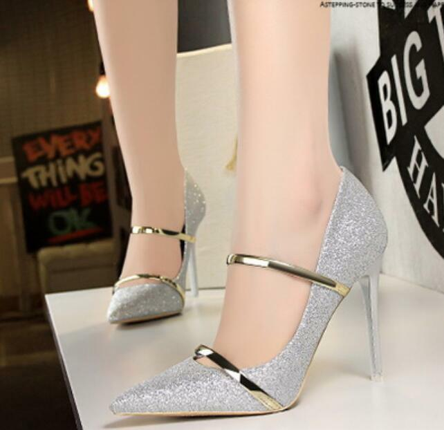 Sexy Womens Sexy Pump Metal Stilettos Oxford Sz35-40 Pointy Toe High Heel shoes