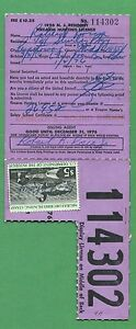 New Jersey 1976 Resident Firearm Hunting License Rw43