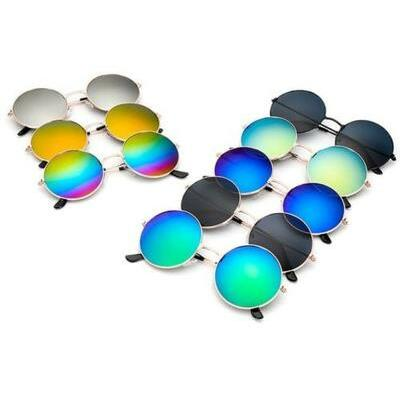 Fashion Round Vintage Retro Hippy Cyber Goggles Steampunk Mens Womens Sunglasses