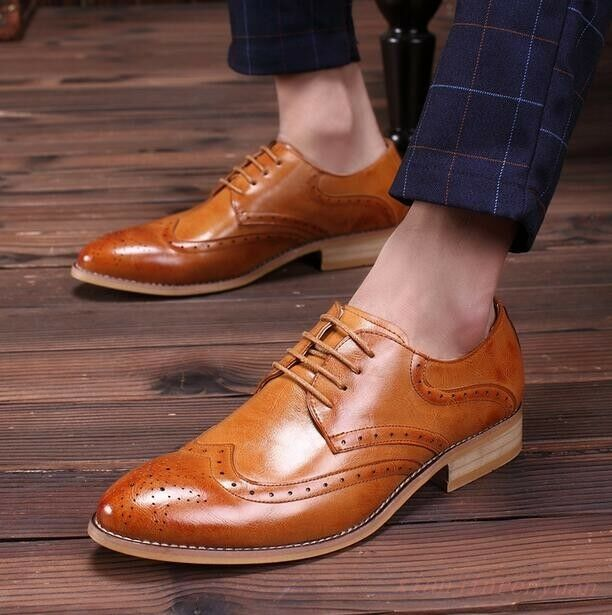 British Mens Formal Lace Up Brogue Wingtip Oxfords Carved Casual Dress shoes Sz