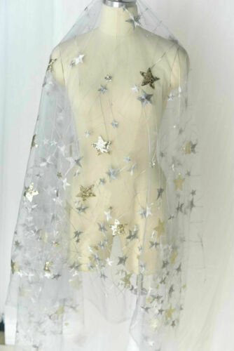 Mesh Sequin Embroidery Voile Fabric Star Wedding Dress Tutu Skirt Tulle Sew Trim