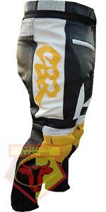 HONDA-CBR-YELLOW-MOTORBIKE-MOTORCYCLE-BIKER-COWHIDE-LEATHER-ARMOURED-TROUSER