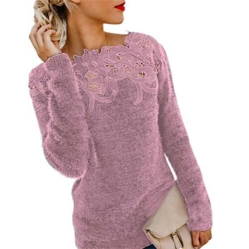 Damen Pullover Pulli Winter Langarm Sweater Jumper Sweatshirt Oberteil Longtops