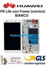 HUAWEI P8 Lite BIANCO - DISPLAY LCD+TOUCH COMPLETO con FRAME   - GLS 24 h..!