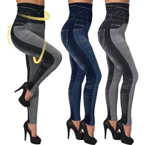 Femme-Jeans-Leggings-Taille-Hauts-Moulante-Denim-Look-Crayon-Pantlon-Elastique