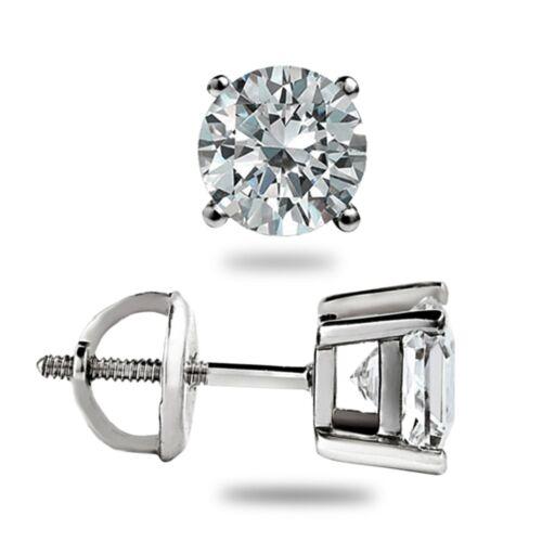 1.10 CT Brillant Rond Cut Boucles d/'oreille Labo Diamant 14K or Blanc Vis Arrière
