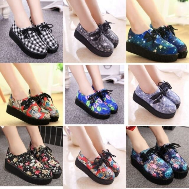 NEW WOMEN LADIES FLAT PLATFORM WEDGE LACE UP CREEPERS PUNK GOTH SHOES BOOTS SIZE