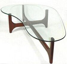 Mid Century Modern Adrian Pearsall Walnut Glass Top Kidney