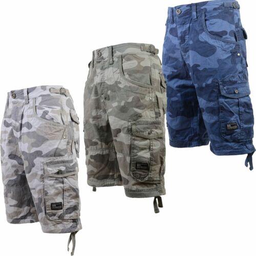 Da Uomo Crosshatch Pantaloncini camo esercito Tasche Cargo Combat jimster Militare NUOVO 32-42