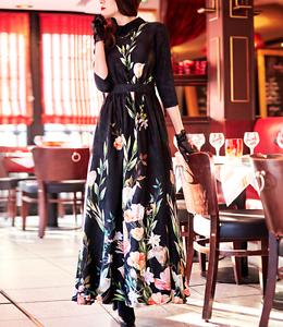 Women Maxi 3 4 Sleeve Elegant Slim Fit Tunic Floral Stand Collar Swing New Dress