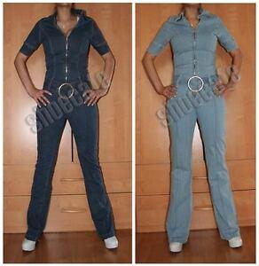 Jeansoverall-Jeanscatsuit-Kurzarm-stretch-Guertel-Reissverschluss-Gr-XS-S-M