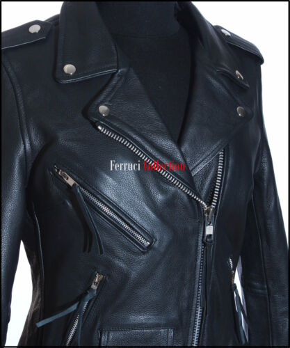 New Leather Ladies Real Black Brando Cowhide Biker Fashion Style Women's Jacket ZqxPtSfxw