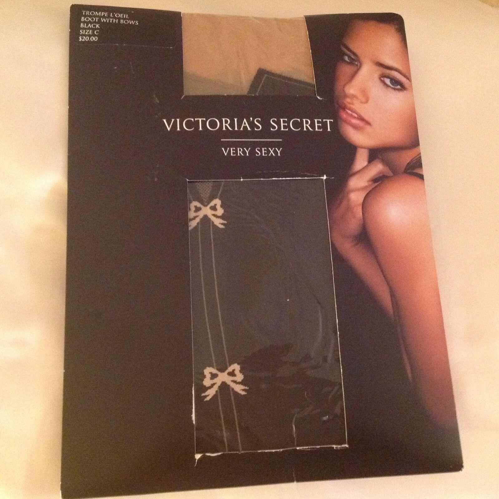 Vintage Victoria's Secret Pantyhose Trompe L'Oeil Boot Bows Adriana Lima NOS