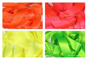 Double-Satin-Ribbon-Berisfords-Bright-Fluorescent-Short-Lengths-or-Full-Reels