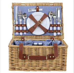 4 Person Folding Handle Picnic Basket Hamper W//Glasses Tableware /&Blanket