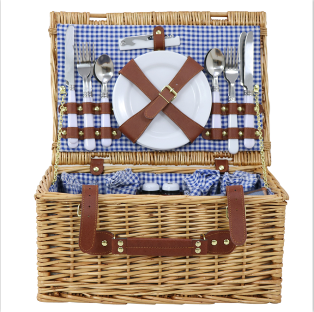 4 Person Folding Handle Picnic Basket Hamper W Gles Tableware Blanket
