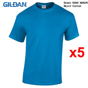 5-Packs-Gildan-Sapphire-T-SHIRT-Blank-Plain-Basic-Tee-S-5XL-Men-Heavy-Cotton