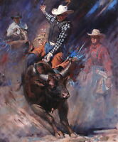 Cowboys bullfighting Oil painting wall Picture Art Printed on canvas L236