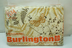 VINTAGE BURLINGTON SHEET VERA FULL FITTED BUTTERFLY SHADOW FERN PERCALE 50% NEW