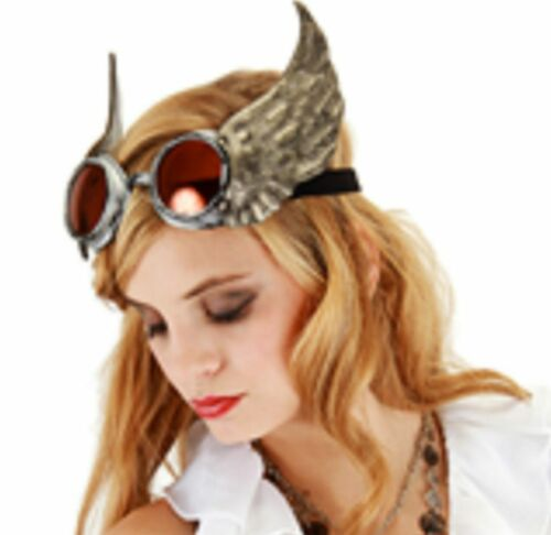 Steampunk Silver Winged Goggles w// Orange Lenses Suede Goth Cosplay NEW