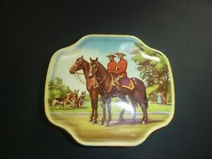 Old-Vintage-Horner-Candy-Tin-Box-Royal-Canadian-Mountie-Police-on-Horses-Label