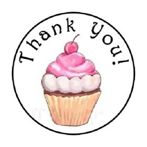 """48 THANK YOU CUPCAKE #5 ENVELOPE SEALS LABELS STICKERS 1.2/"""" ROUND"""