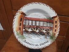 Piatto ceramica BASSANO del GRAPPA PONTE VI dipinto a mano 1980