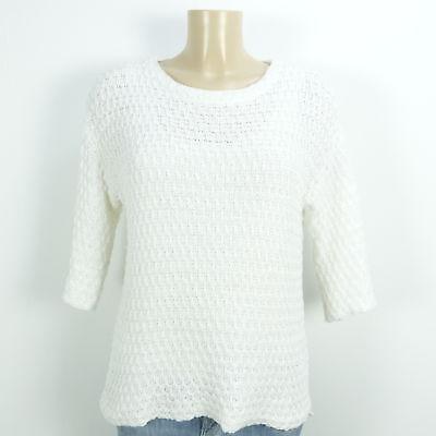 Offen Zara Knit Grobstrick Pullover Weiß Vokuhila Gr.m 38