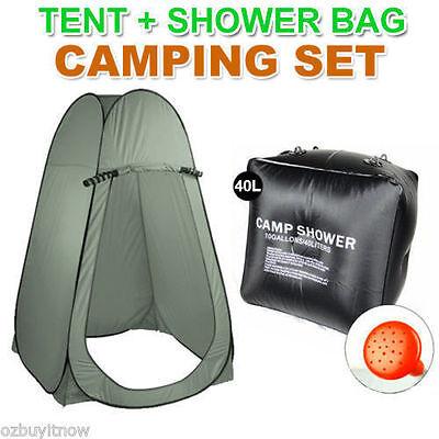 40L Portable Solar Heating Shower Bag + Large Pop Up Tent Camping Shelter