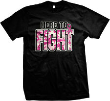 Here To Fight Breast Cancer Pink Camouflage Inspirational Mens T-shirt