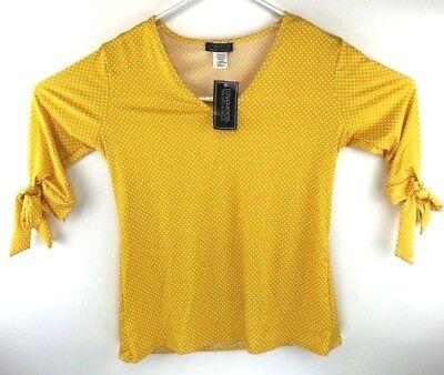 Lovemood Yellow Blouse Top Polka Dots Size S//M//L Rayon NWT