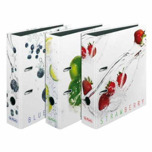 """80mm breit DIN A4 3 verschiedene Herlitz Motivordner /""""Fresh Fruit/"""" max.file"""