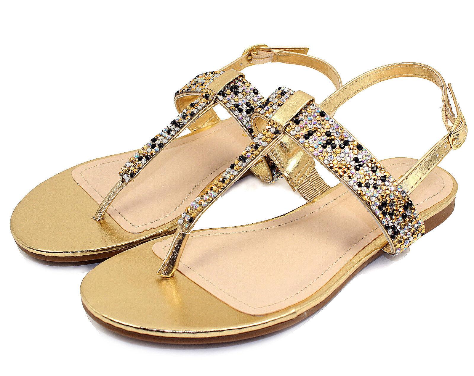 JOSALYN-22 T-Strap Thong Toe Women Gladiator Flats Sandals Bead Women Toe Shoes Gold 6.5 7dfab4