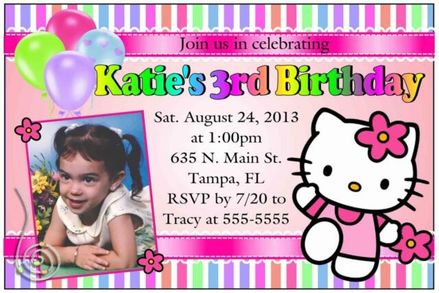 HELLO KITTY BIRTHDAY INVITATIONS DESIGN W PHOTO