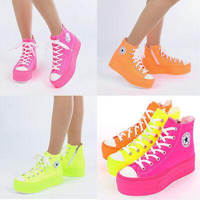 Flats Low Top Sneakers Platform Heels Women's Ladies Shoes Trainers C50 7Mok