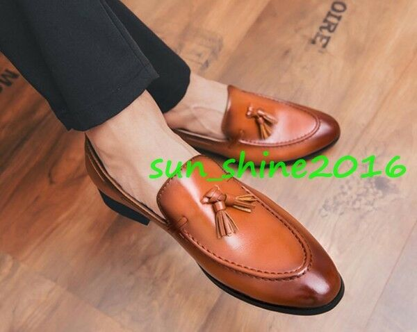 Men Oxford College Leather Slip on Loafer Gommino Dress Leisure Business shoes