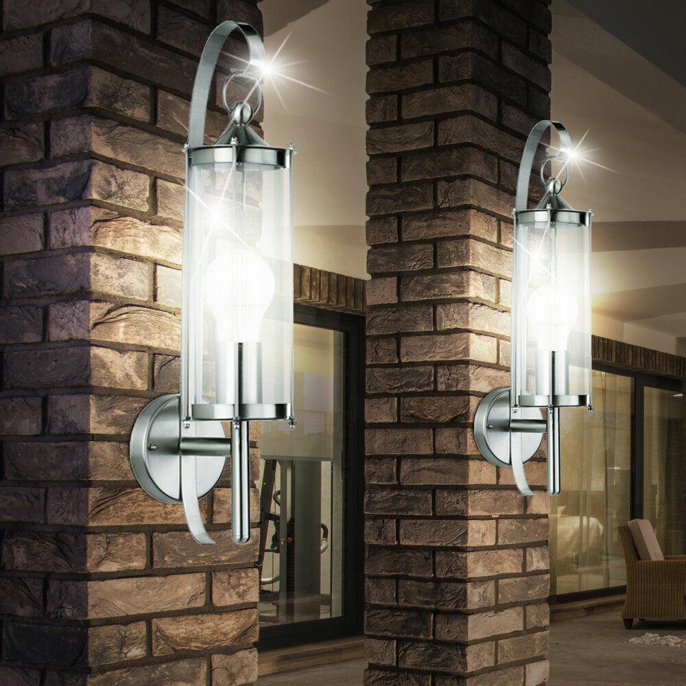 2er set lámpara de parojo acero inoxidable fachada exterior cristal lámpara farol iluminación patio