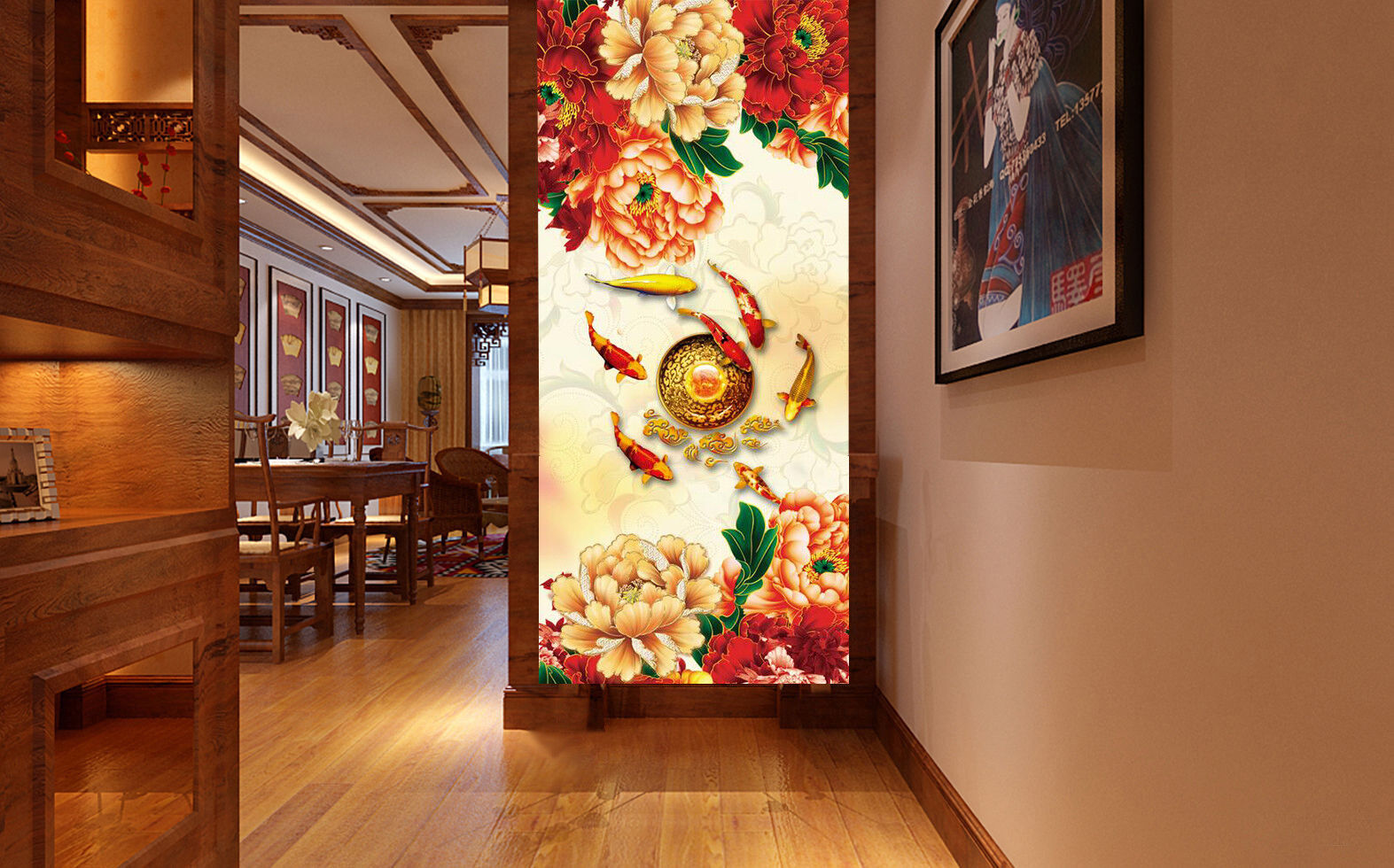3D Fish Flower rot 99 Wallpaper Mural Wall Print Wall Wallpaper Murals US Carly