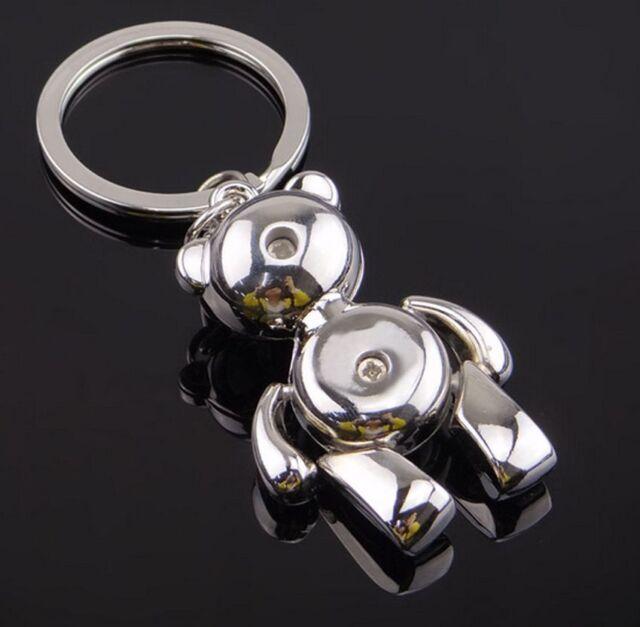 Cute Movable Metal Teddy Bear Keychain Keyring Keyfob Ring Trinket 3D Pendant CI