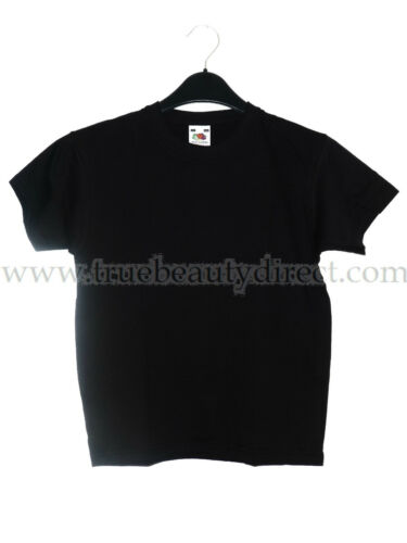 CHOOSE A SIZE FRUIT OF THE LOOM BOYS BLACK PLAIN T-SHIRT PE SPORTS CASUAL COTTON