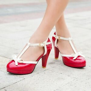 Womens-Mary-Janes-Bowknots-Round-Toe-High-Heel-T-Strap-Pumps-Party-Shoes-Plus-Sz